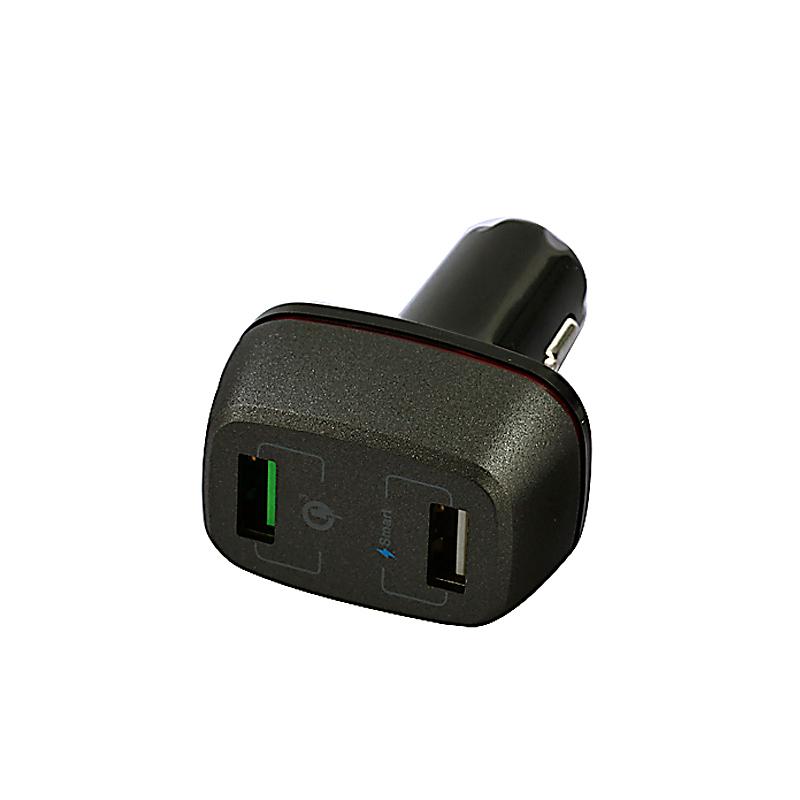 Rychlonabíjecí (QC 3.0) autoadaptér s 2 USB porty a LED proužkem, černá barva (CLA0283)