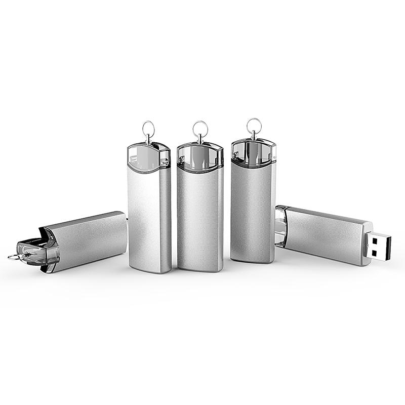 USB flash disk 2.0 s rotačním vysouváním, 16GB, stříbrný, transparentní plastová část (UDM1140)