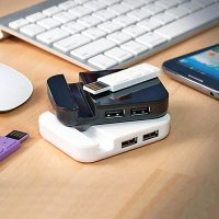 USB 2.0 HUB, 4 PORTY + STOJÁNEK NA MOBIL