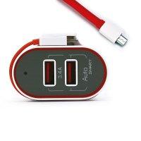 SÍŤOVÝ DUÁLNÍ USB ADAPTÉR  SE ZABUDOVANÝM MICRO USB KABELEM