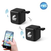 SET 2 KS MINI CUBE BLUETOOTH REPRODUKTORŮ S TWS FUNKCÍ A LED LOGEM