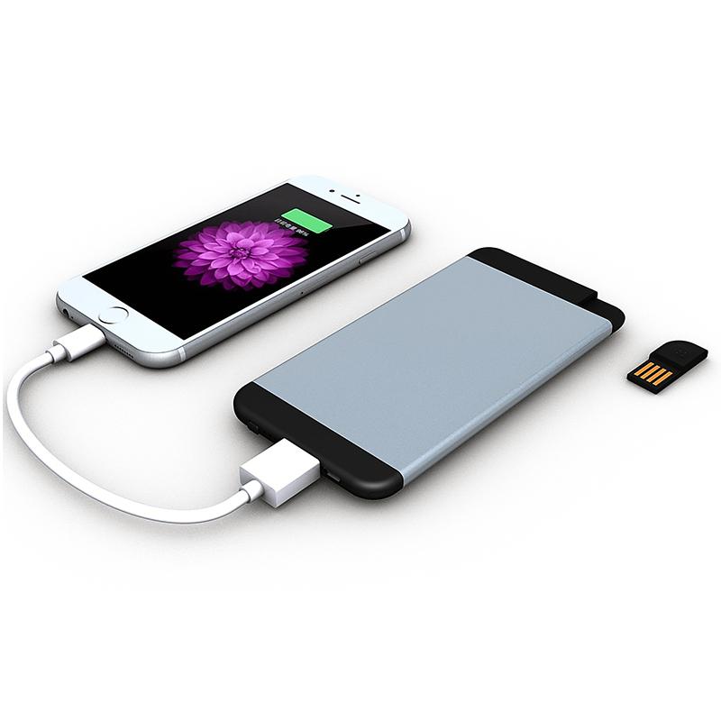 LUXUSNÍ ULTRATENKÁ POWER BANKA S USB FLASH DISKEM, 5000 mAh