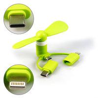 UNIVERZÁLNÍ MINI USB VĚTRÁČEK K MOBILU SE TŘEMI KONEKTORY