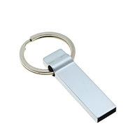 USB flash disk 2.0, 16 GB, stříbrná barva, kroužek na klíče (UDM1009)